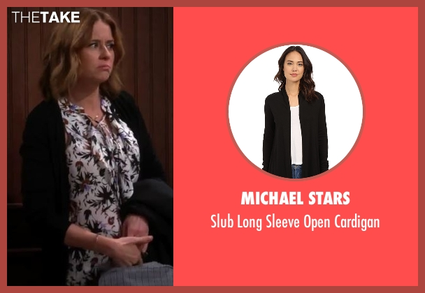 Michael Stars black cardigan from Man With A Plan seen with Unknown Character (Jenna Fischer)