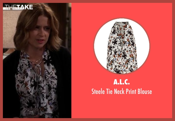 A.L.C. white blouse from Man With A Plan seen with Unknown Character (Jenna Fischer)