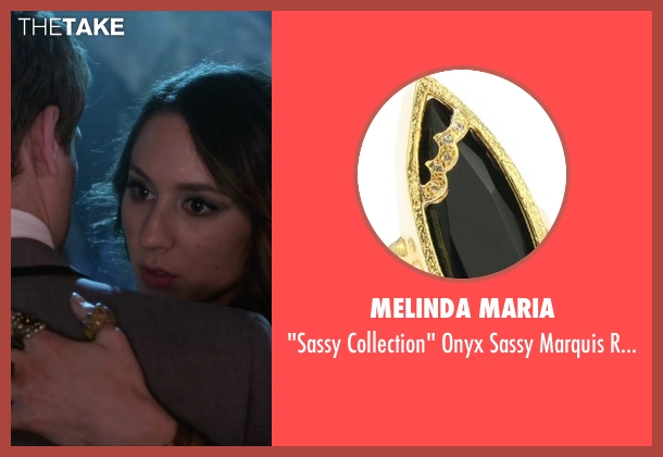 Melinda Maria gold ring from Pretty Little Liars seen with Unknown Character (Troian Bellisario)