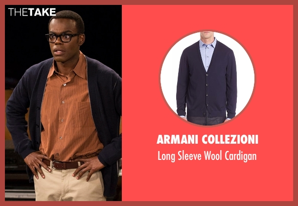 Armani Collezioni blue cardigan from The Good Place seen with Unknown Character (William Jackson Harper)