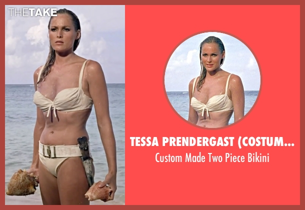 Tessa Prendergast (Costume Designer) white bikini from Dr. No seen with Ursula Andress (Honey Ryder)