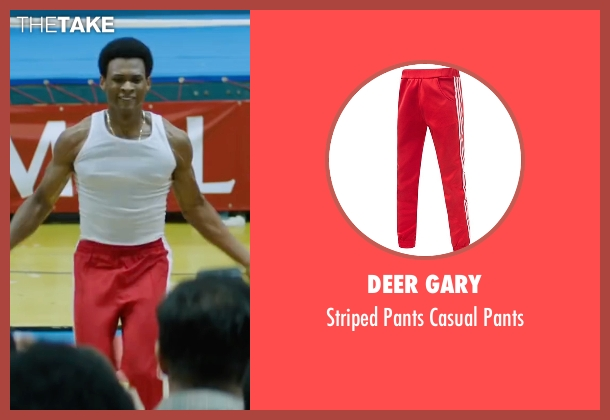 Deer Gary red pants from Hands of Stone seen with Usher Raymond (Sugar Ray Leonard)
