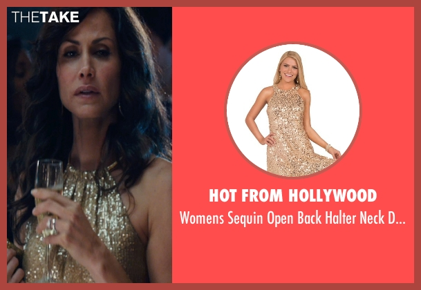 Hot from Hollywood gold dress from The Loft seen with Valerie Cruz (Barbara Stevens)