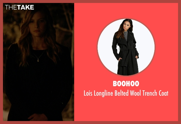 Boohoo black coat from The Vampire Diaries seen with Valerie Tulle  (Elizabeth Blackmore)