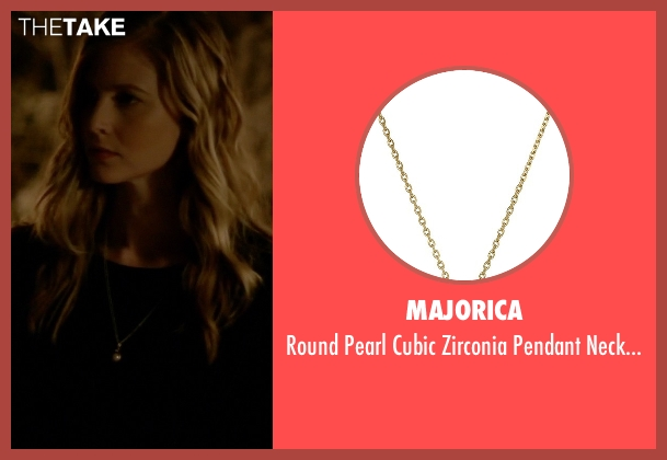 Majorica gold necklace from The Vampire Diaries seen with Valerie Tulle  (Elizabeth Blackmore)