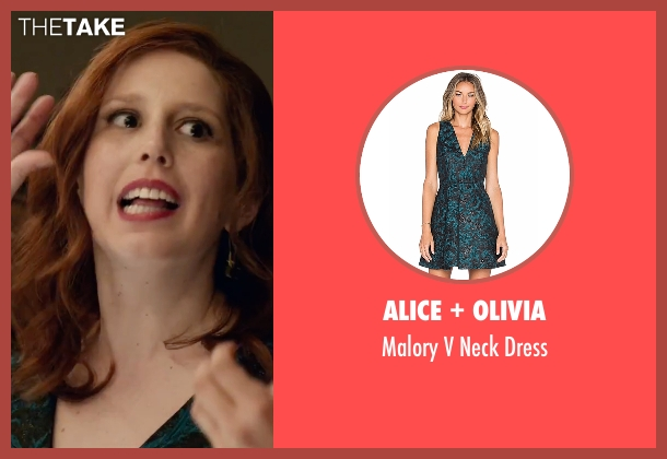 Alice + Olivia green dress from Office Christmas Party seen with Vanessa Bayer (Allison)