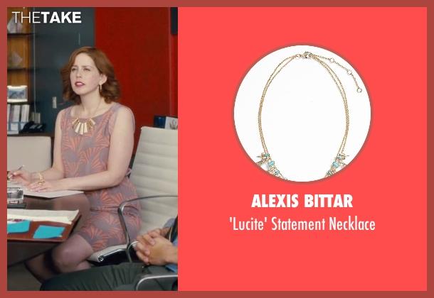 Alexis Bittar beige necklace from Trainwreck seen with Vanessa Bayer (Nikki)