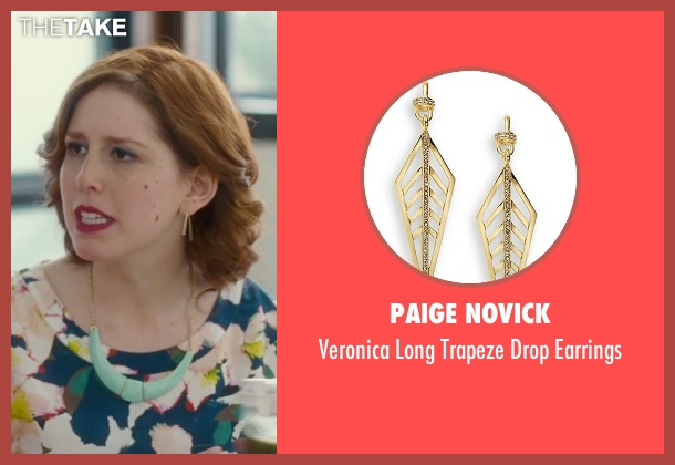 Paige Novick gold earrings from Trainwreck seen with Vanessa Bayer (Nikki)