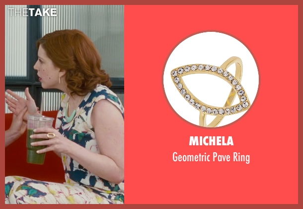 Michela gold ring from Trainwreck seen with Vanessa Bayer (Nikki)