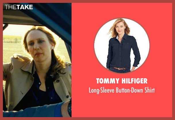 Tommy Hilfiger blue shirt from Safe House seen with Vera Farmiga (Catherine Linklater)