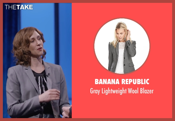 Banana Republic gray blazer from Special Correspondents seen with Vera Farmiga (Eleanor Finch)
