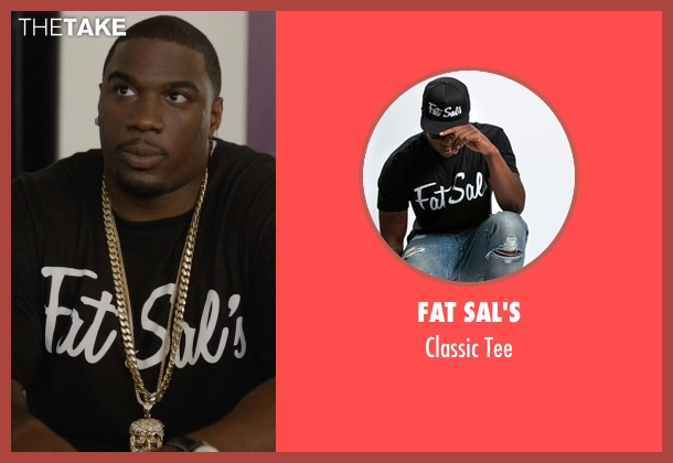 Fat Sal's black tee from Ballers seen with Vernon (Donovan W. Carter)
