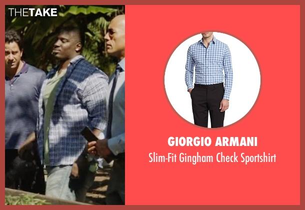 Giorgio Armani blue sportshirt from Ballers seen with Vernon (Donovan W. Carter)