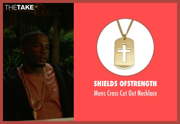 Shields Ofstrength gold necklace from Ballers seen with Vernon (Donovan W. Carter)