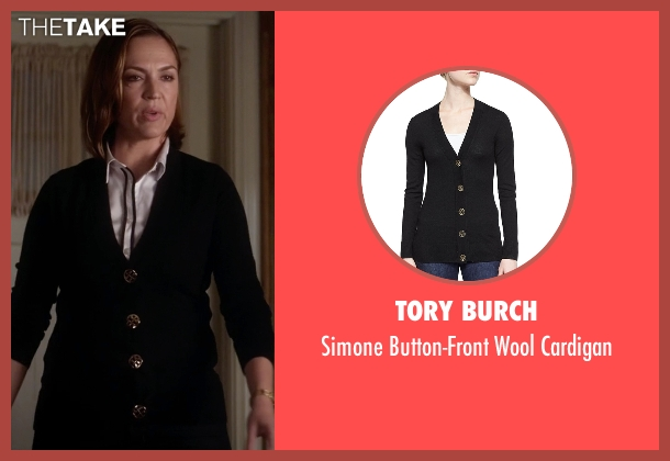 Tory Burch black cardigan from Pretty Little Liars seen with Veronica Hastings (Lesley Fera)