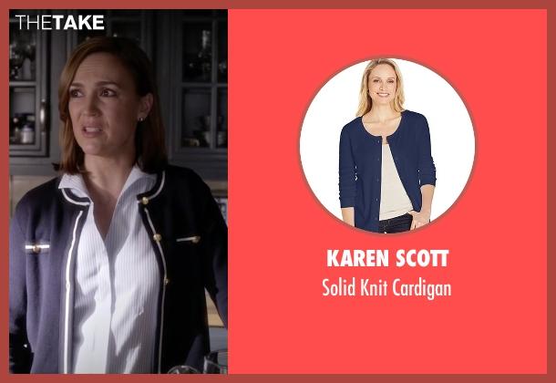 Karen Scott blue cardigan from Pretty Little Liars seen with Veronica Hastings (Lesley Fera)