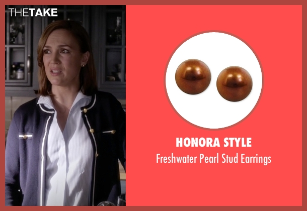 Honora Style gold earrings from Pretty Little Liars seen with Veronica Hastings (Lesley Fera)