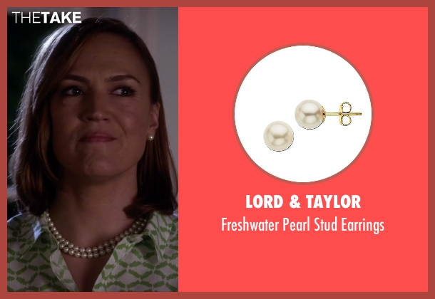 Lord & Taylor white earrings from Pretty Little Liars seen with Veronica Hastings (Lesley Fera)
