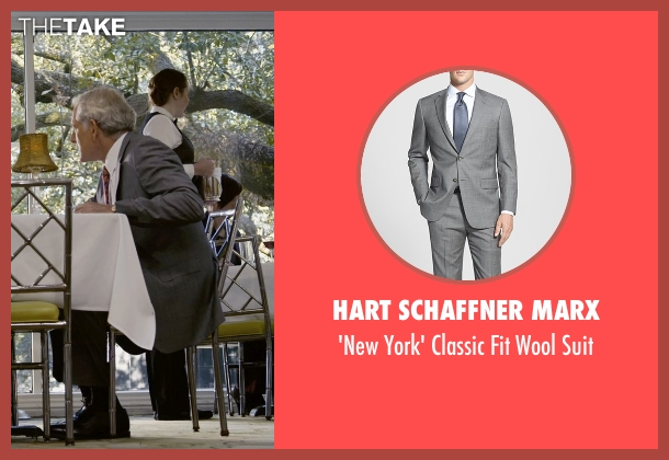 Hart Schaffner Marx gray suit from Self/Less seen with Victor Garber (Martin)