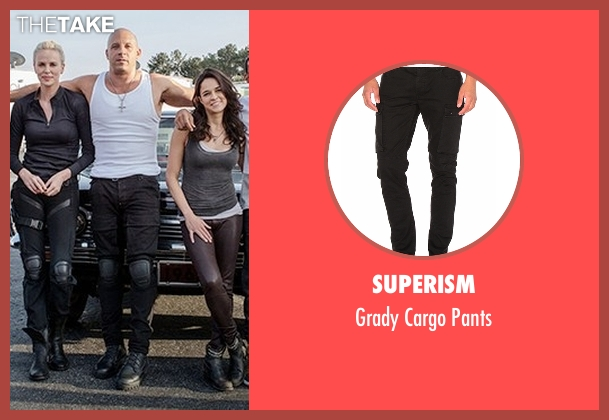 Superism black pants from Fast 8 seen with Vin Diesel (Dominic Toretto)
