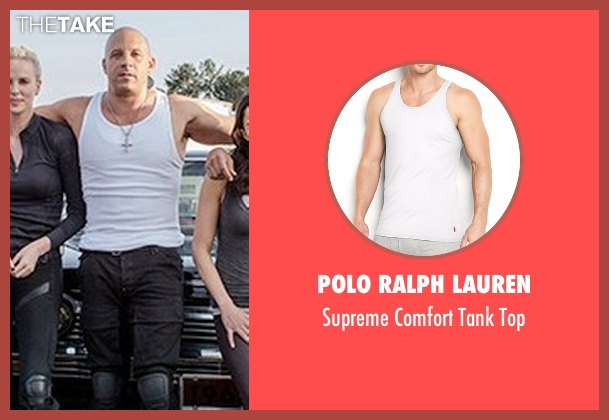 Polo Ralph Lauren white top from Fast 8 seen with Vin Diesel (Dominic Toretto)
