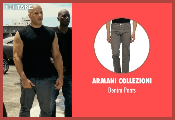 Armani Collezioni gray pants from Fast Five seen with Vin Diesel (Dominic Toretto)