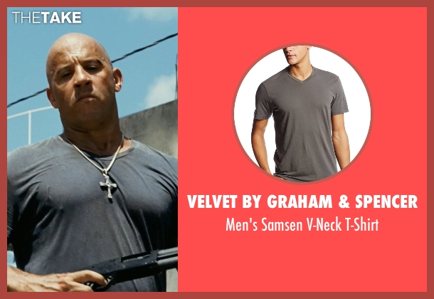 Velvet by Graham & Spencer gray t-shirt from Fast Five seen with Vin Diesel (Dominic Toretto)