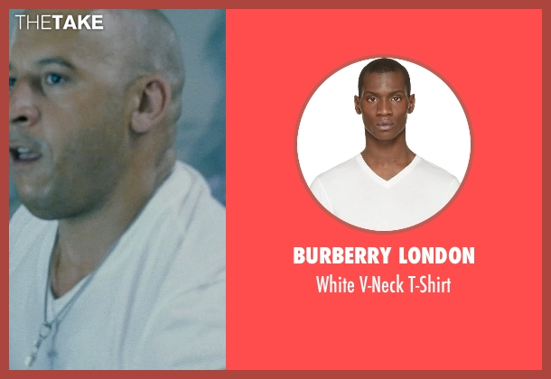 Burberry London white t-shirt from Fast Five seen with Vin Diesel (Dominic Toretto)
