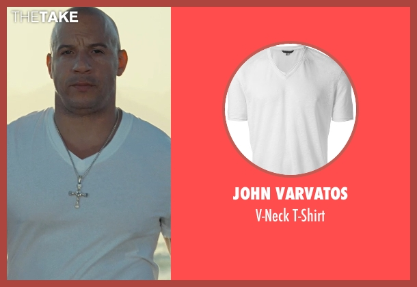 John Varvatos white t-shirt from Fast Five seen with Vin Diesel (Dominic Toretto)