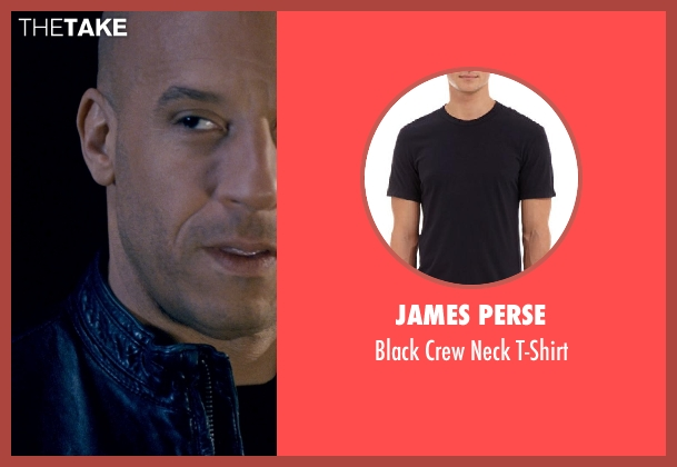 James Perse black t-shirt from Fast & Furious 6 seen with Vin Diesel (Dominic Toretto)
