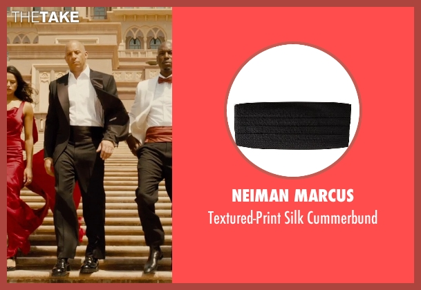 Neiman Marcus	 black cummerbund from Furious 7 seen with Vin Diesel (Dominic Toretto)