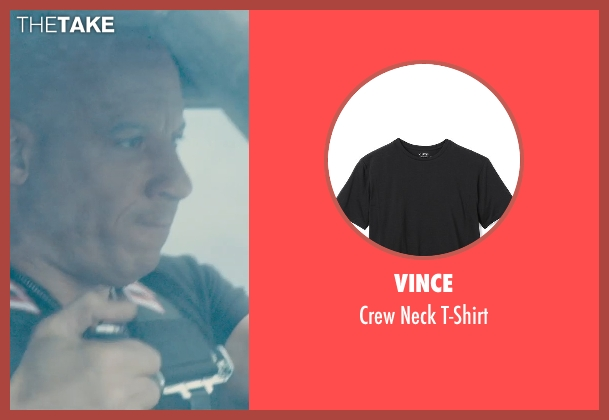 Vince black t-shirt from Furious 7 seen with Vin Diesel (Dominic Toretto)