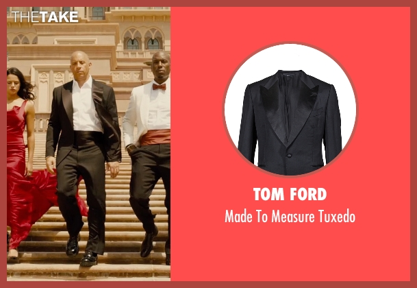 Tom Ford black tuxedo from Furious 7 seen with Vin Diesel (Dominic Toretto)