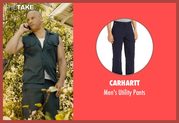 Carhartt blue pants from Furious 7 seen with Vin Diesel (Dominic Toretto)