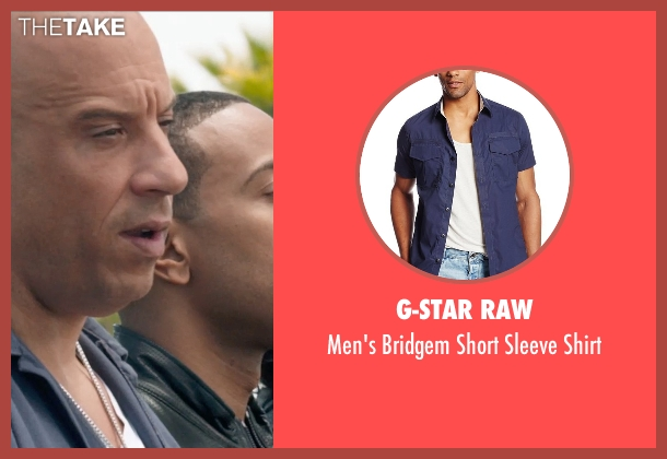 G-Star Raw blue shirt from Furious 7 seen with Vin Diesel (Dominic Toretto)