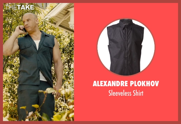 Alexandre Plokhov blue shirt from Furious 7 seen with Vin Diesel (Dominic Toretto)