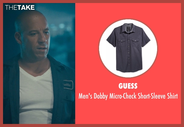Guess blue shirt from Furious 7 seen with Vin Diesel (Dominic Toretto)