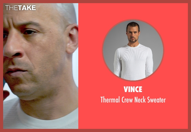 Vince white sweater from Furious 7 seen with Vin Diesel (Dominic Toretto)