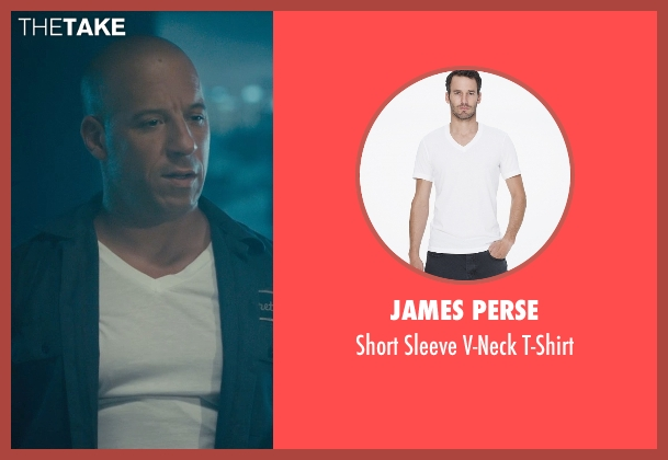 James Perse white t-shirt from Furious 7 seen with Vin Diesel (Dominic Toretto)