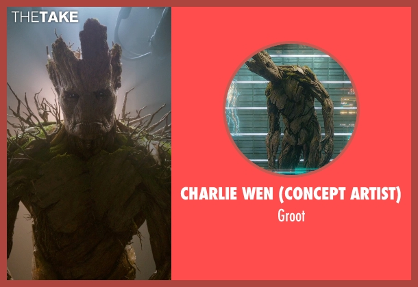 Charlie Wen (Concept Artist) groot from Guardians of the Galaxy seen with Vin Diesel (Groot)