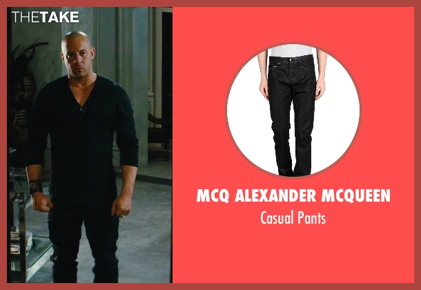 McQ Alexander McQueen black pants from The Last Witch Hunter seen with Vin Diesel (Kaulder)