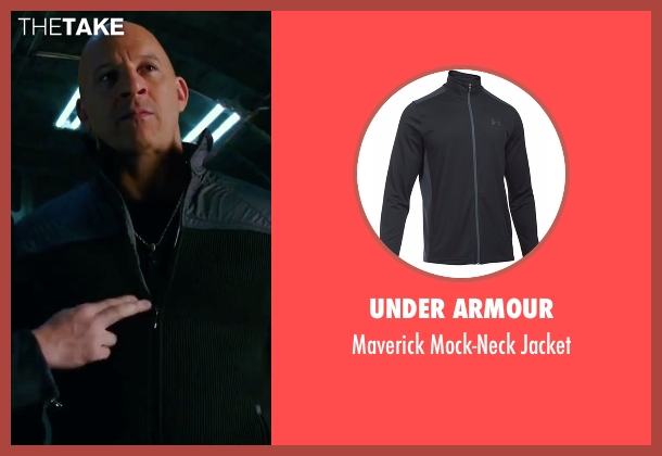 Under Armour black jacket from xXx: Return of Xander Cage seen with Vin Diesel (Xander Cage)