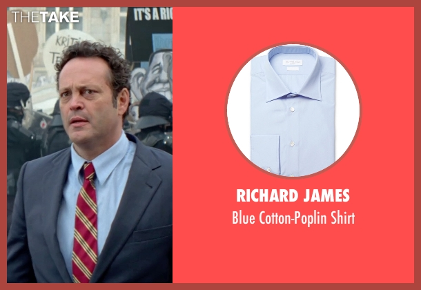 Richard James blue shirt from Unfinished Business seen with Vince Vaughn (Dan Trunkman)