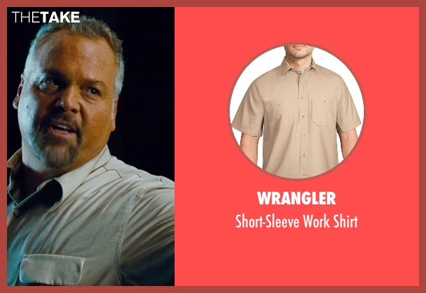 Patagonia white shirt from Jurassic World seen with Vincent D'Onofrio (Vic Hoskins)
