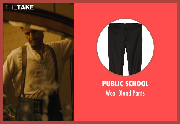Public School black pants from Unbroken seen with Vincenzo Amato (Anthony Zamperini)