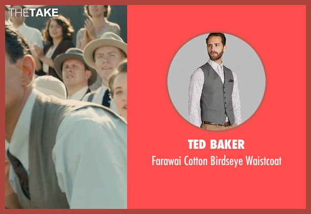 Ted Baker gray waistcoat from Unbroken seen with Vincenzo Amato (Anthony Zamperini)