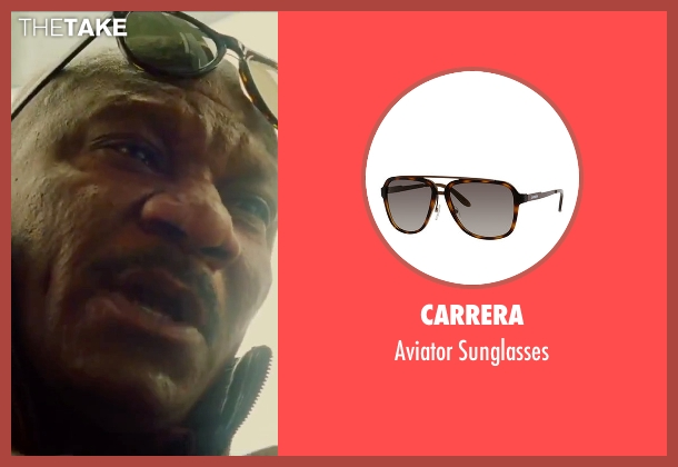 Carrera brown sunglasses from Mission: Impossible - Rogue Nation seen with Ving Rhames (Luther Stickell)