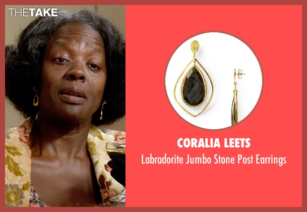Coralia Leets gold earrings from Get On Up seen with Viola Davis (Susie Brown)