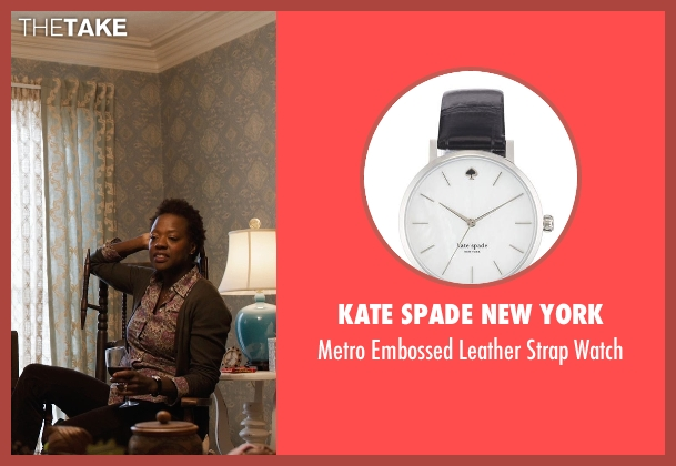 Kate Spade New York black watch from Prisoners seen with Viola Davis (Nancy Birch)