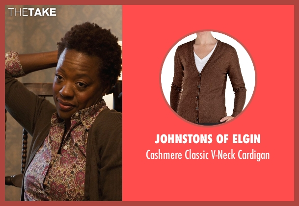 Johnstons of Elgin brown cardigan from Prisoners seen with Viola Davis (Nancy Birch)